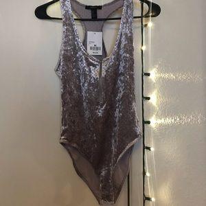 Lilac Velvet Forever 21 Bodysuit - Size M